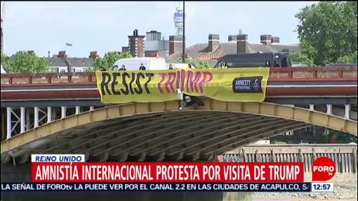 Amnistía Internacional protesta contra la visita de Trump en Londres