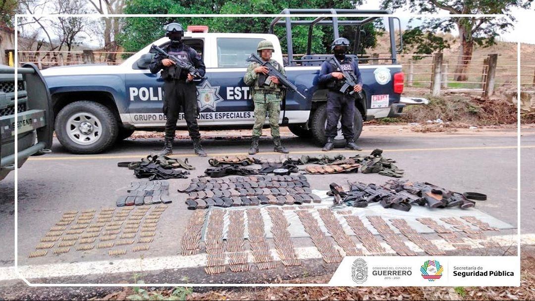 Foto: armas aseguradas en Guerrero, 5 de junio 2019. Facebook-Secretaría de Seguridad Pública de Guerrero