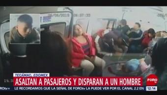Asaltan transporte público en Tecámac, Edomex, y disparan a pasajero