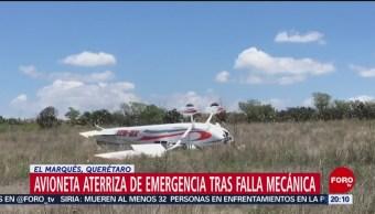 Foto: Avioneta Aterriza Emergencia Querétaro 28 Junio 2019