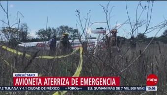 FOTO: Avioneta aterriza de emergencia en Querétaro, 29 Junio 2019