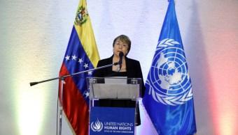 Foto: La alta comisionada de Naciones Unidas para los derechos humanos, Michelle Bachelet, habla durante una rueda de prensa en Venezuela, 22 junio 2019