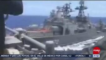 Foto: Buque de guerra estadounidense y otro ruso, a punto de chocar en el Océano Pacífico