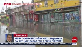 Foto: Calles inundadas en zona oriente de la CDMX