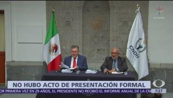 CNDH critica que AMLO no recibió su informe