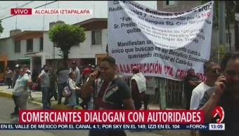 Comerciantes dialogan con autoridades tras enfrentamiento en Iztapalapa