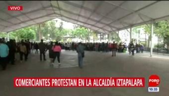 Comerciantes protestan en la alcaldía Iztapalapa