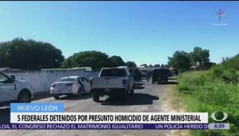 Detienen a cinco policías en Nuevo León