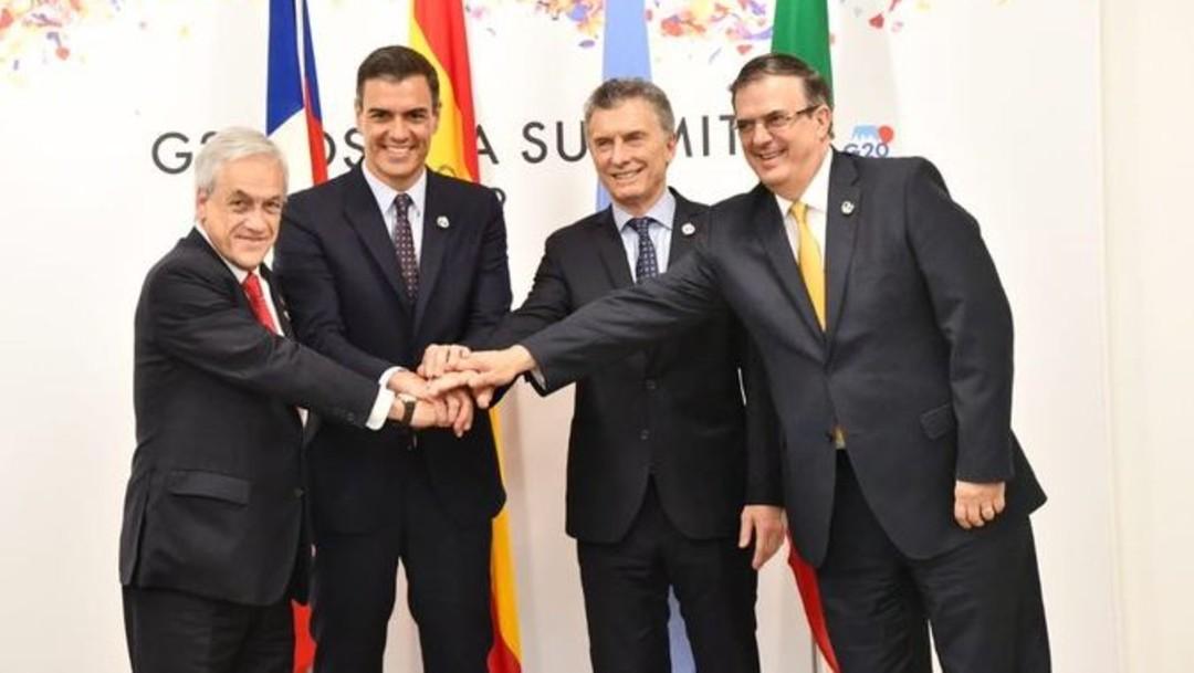 Foto: En la Cumbre del G20 se reunieron países de Iberoamérica para reafirmar su compromiso contra el cambio climático, el 29 de junio de 2019 (Twitter @m_ebrard)