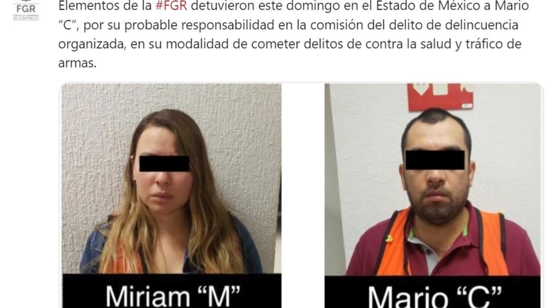 """Foto: Elementos de la Fiscalía General de la República también detuvieron a Miriam """"M"""", quien portaba un arma de fuego, dosis de droga y celulares, junio 30 de 2019 (Twitter: @FGRMexico)"""