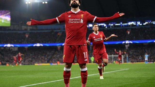 Foto: Mohamed Salah celebra un gol contra el Manchester City. El 10 de abril de 2018