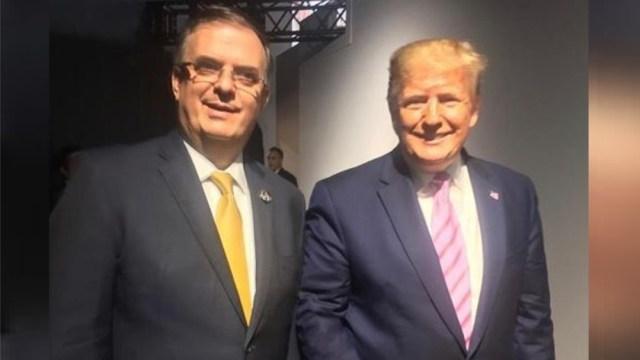 Foto: El secretario de Relaciones Exteriores, Marcelo Ebrard, y el presidente de EU, Donald Trump, se saludaron en la Cumbre del G20 que se efectúa en Osaka, Japón, 29 junio 2019