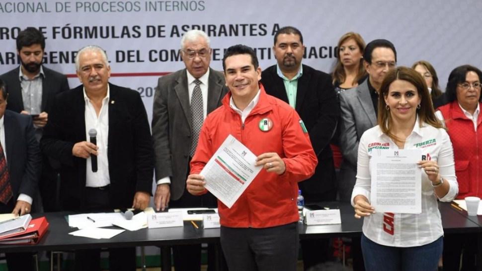 Foto: Solicitud de registro de la fórmula integrada por Alejandro Moreno Cárdenas y Carolina Viggiano Austria, el 22 de junio de 2019 (Twitter @PRI_Nacional)