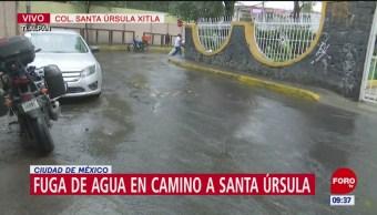 Gran fuga de agua en alcaldía Tlalpan