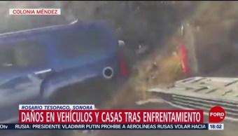 Foto: Grupo criminal incendia casas y vehículos en Sonora