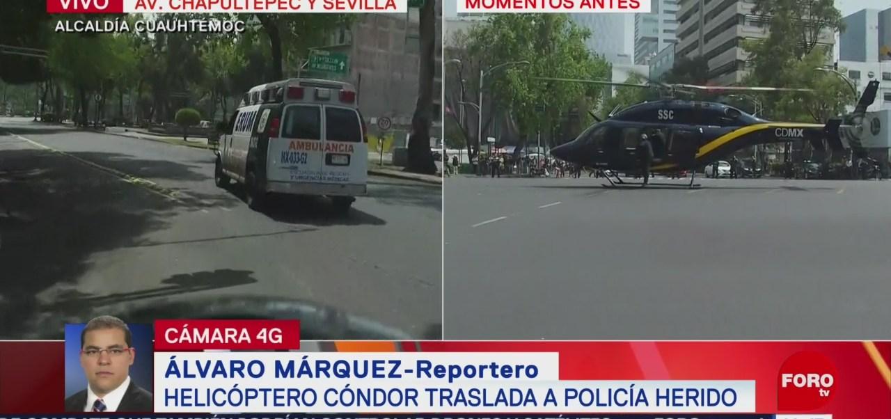 Helicóptero Cóndor traslada a policía tras ser atropellado en Iztapalapa