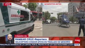 FOTO: Helicóptero Cóndores traslada a menores al Hospital