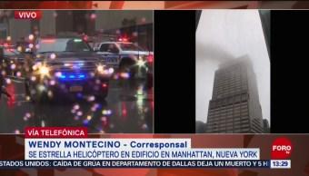 FOTO: Helicóptero se estrelló en edificio de 54 pisos en Manhattan, Nueva York