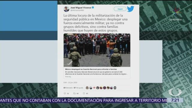Human Rights Watch critica envío de Guardia Nacional a frontera sur