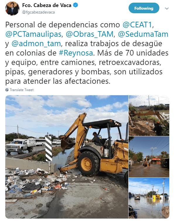 IMAGEN Lluvias provocan inundaciones en Reynosa, hay un muerto (Twitter @fgcabezadevaca 25 junio 2019 tamaulipas)