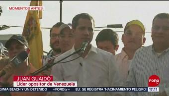 FOTO: Juan Guaidó ofrece mensaje a simpatizantes en Caracas, Venezuela, 1 Junio 2019