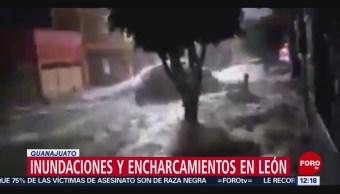 León, Guanajuato, registra fuertes lluvias e inundaciones