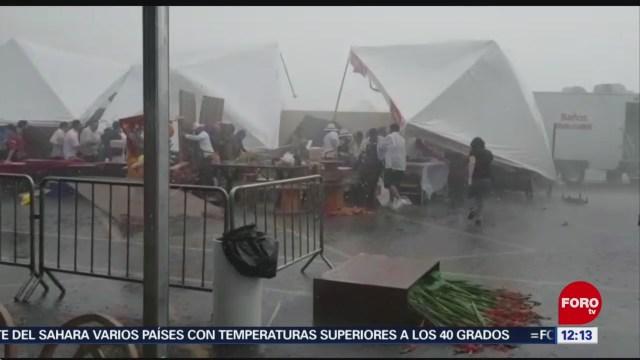 Lluvia con granizo y vientos fuertes afecta Saltillo