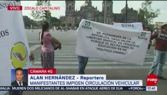 FOTO: Maestros de Veracruz protestan en el Zócalo de la CDMX