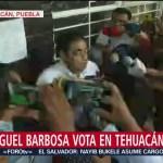 FOTO: Miguel Barbosa, candidato a la gubernatura de Puebla, habla sobre las elecciones, 2 Junio 2019
