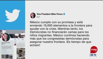 Mike Pence aplaude envío de 15 mil soldados a la frontera México-EU