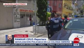 Foto: Movilización policiaca por balacera en colonia Obrera, CDMX