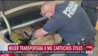 foto: Mujer transportaba 8 mil cartuchos útiles en Sonora