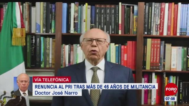 Narro Robles: Decidí no competir por dirigencia del PRI y también renuncié a la militancia