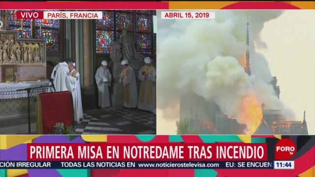 FOTO: Ofician primera misa en Catedral de Notredame tras incendio, 15 Junio 2019