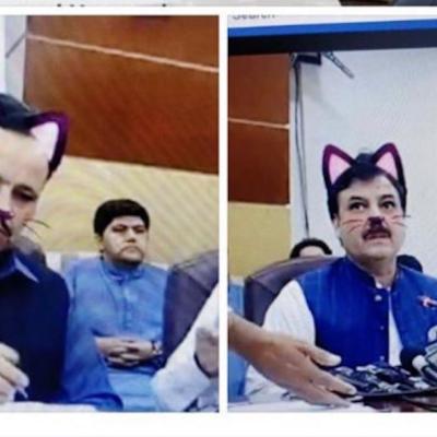 Funcionarios olvidan quitar filtro de gato durante conferencia de ministro