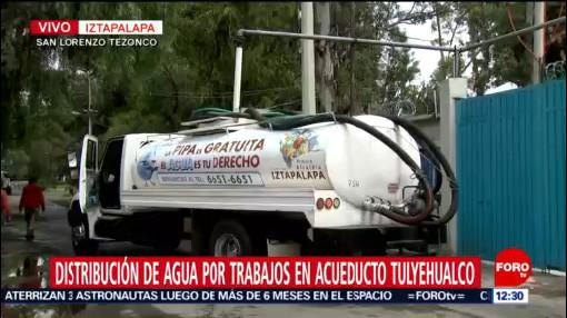 Pipas llevan agua a colonias de Iztapalapa afectadas por corte de agua