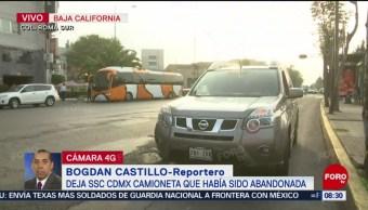 FOTO: Policías de SSC-CDMX abandonan camioneta que iban a retirar, 22 Junio 2019