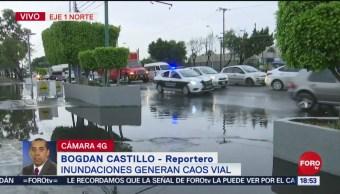 Reportan encharcamientos en zona norte de CDMX tras lluvia