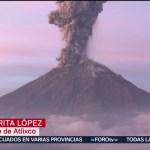 FOTO: Se incrementa la actividad del volcán Popocatépetl