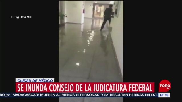 Se inunda sede del Consejo de la Judicatura Federal, en CDMX