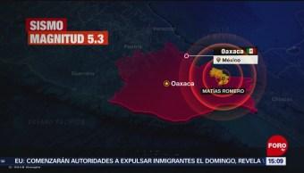 FOTO: Se registra sismo de magnitud preliminar de 5.3 en Oaxaca, 23 Junio 2019