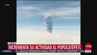 FOTO: Se registra un incremento en la actividad del volcán Popocatépetl, 15 Junio 2019