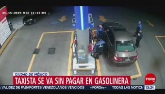 foto: Taxista se va sin pagar en gasolinera en Ciudad de México
