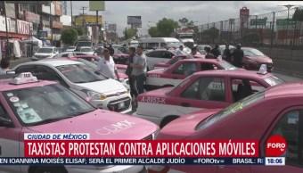 FOTO. Taxistas protestan en CDMX contra aplicaciones móviles