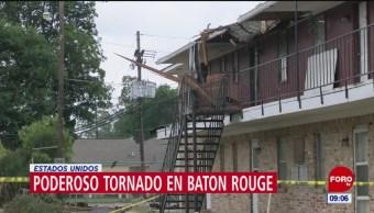 Tornado intenso afecta Baton Rouge, en Louisiana