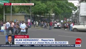 Foto: Trabajadores de vigilancia de la UNAM realizan bloqueo