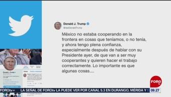 Trump confía cumplimiento del pacto con México tras hablar con AMLO