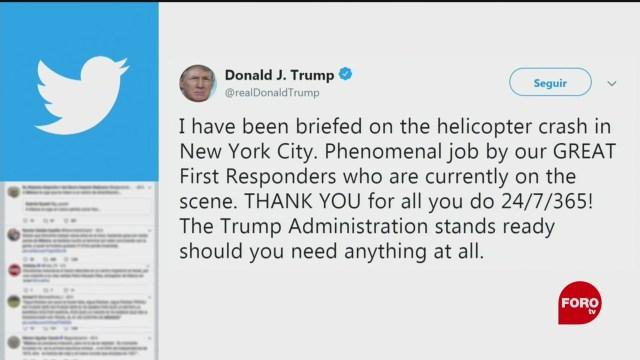 FOTO. Trump ofrece ayuda tras estrellarse helicóptero en Manhattan