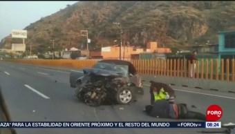 FOTO: Un lesionado por accidente en la Autopista México-Puebla, 16 Junio 2019