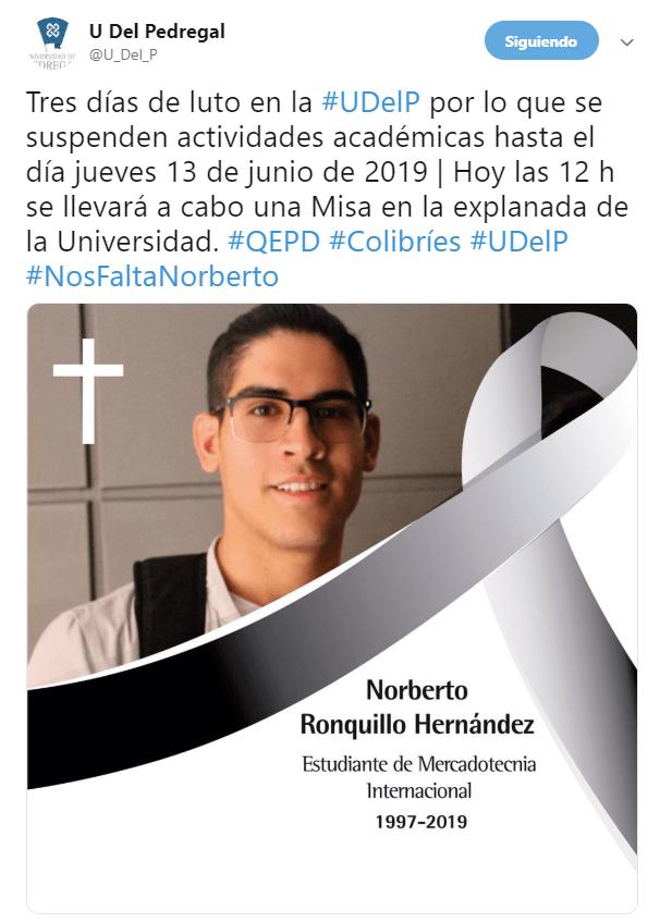 IMAGEN Universidad del Pedregal suspende clases y decreta luto por asesinato de Norberto Ronquillo (Twitter 10 junio 2019 cdmx)